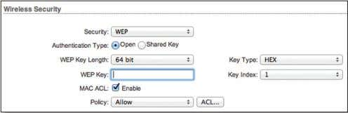 "List. For details, refer to ""MAC ACL"" on page 30 . WEP Authentication Type Select one"