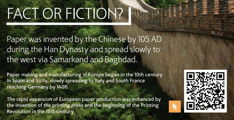 FACT OR FICTION? Paper was invented by the Chinese by 105 AD during the Han