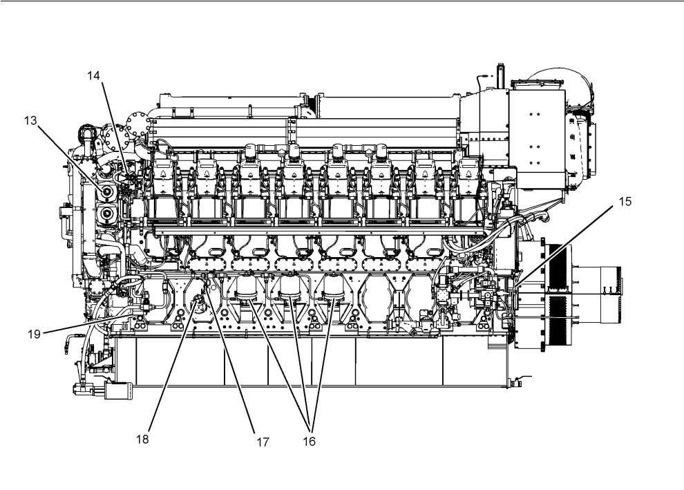 SEBU7876 21 General Information Product Description Illustration 19 Left Side View of a C280-16 Engine With