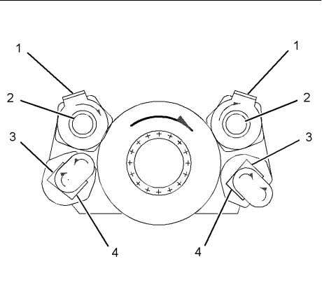 25 shows the fluid flow of the Optional front drive. Illustration 25 (1) Water outlet (2)