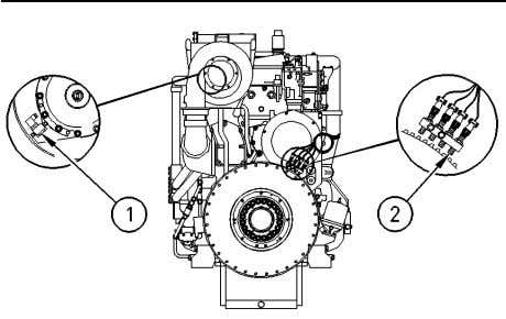 that are at different locations, the differences are shown. Illustration 41 (1) Turbine speed sensor (2)