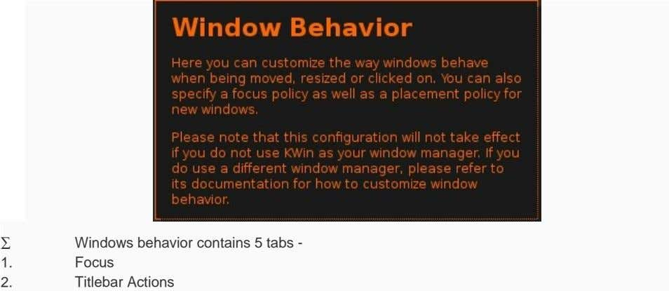 ∑ Windows behavior contains 5 tabs - 1. Focus 2. Titlebar Actions