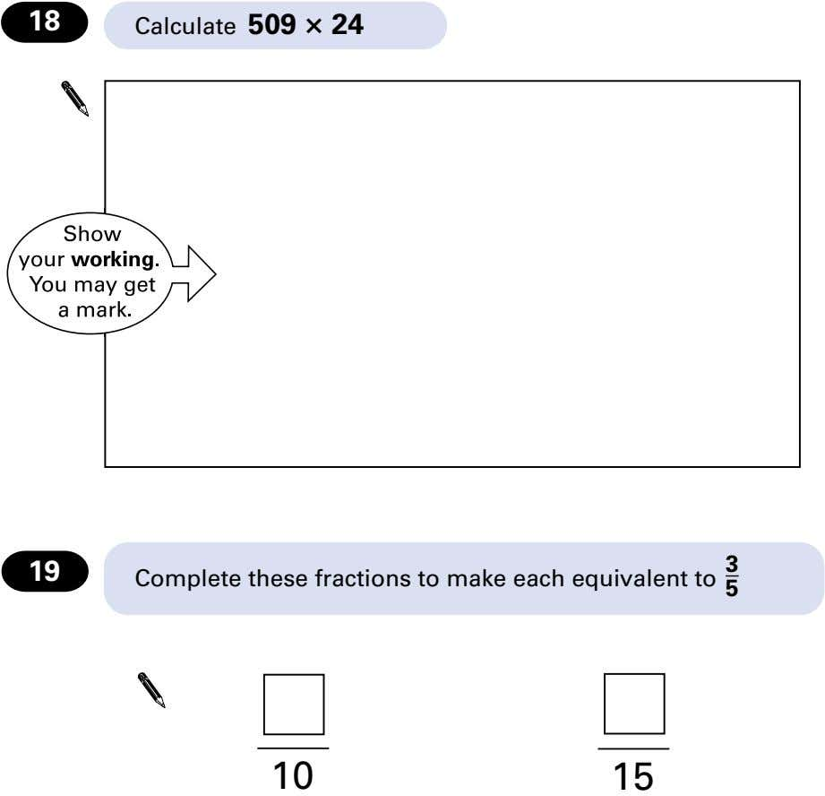 18 Calculate 509 t 24 3 19 Complete these fractions to make each equivalent to