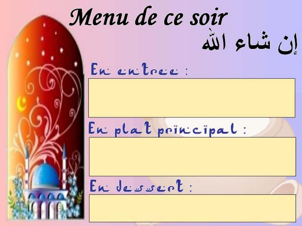 Menu : © Ummu_Maryam (supports-islamiques.over-blog.com) 17