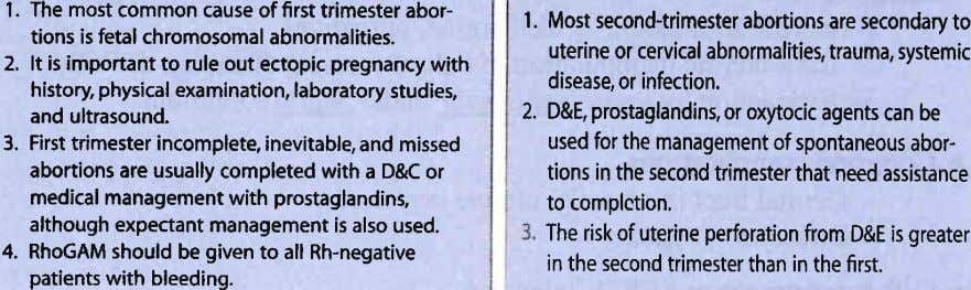 1. The most common cause of first trimester abor- tions is fetal chromosomal abnormalities. 2,