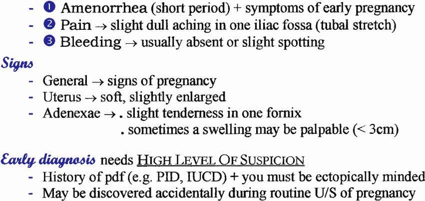 - O Amenorrhea (short period) + symptoms of early pregnancy - O Pain -+ slight