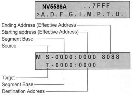 ‗M' key allows the data to be moved to another address: The ending address must be