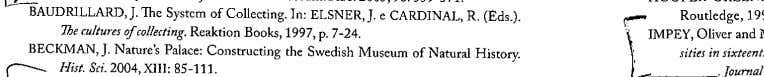BAUDRlLLARD, J. The Systcm of Collecting.ln: ELSNER,J. e CARDINAL, lhe cultures ofcollecting. Reaktion Books, 1997,