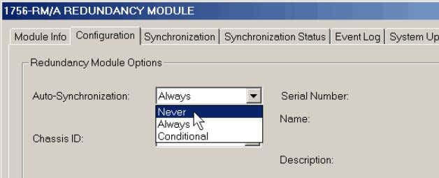 From the Auto-Synchronization pull-down menu, choose Never. 6. Click Apply, then click Yes. 7. Click the