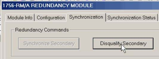 3. In the Synchronization tab, click Disqualify Secondary. 4. In RSLogix 5000 programming software, go online