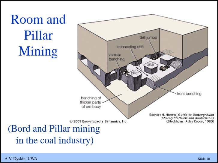 Room and Pillar Mining (Bord and Pillar mining in the coal industry) A.V. Dyskin, UWA