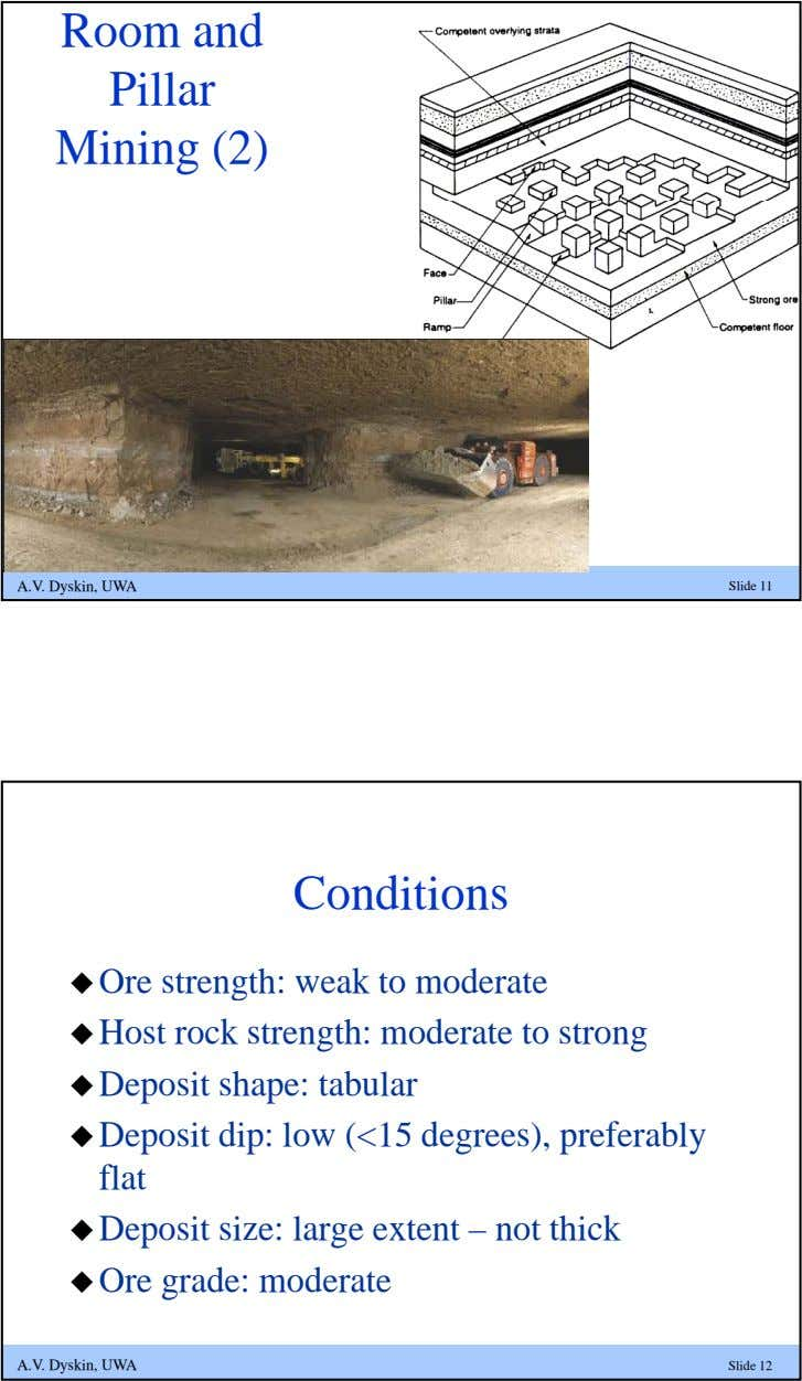 Room and Pillar Mining (2) A.V. Dyskin, UWA Slide 11 Conditions  Ore strength: weak