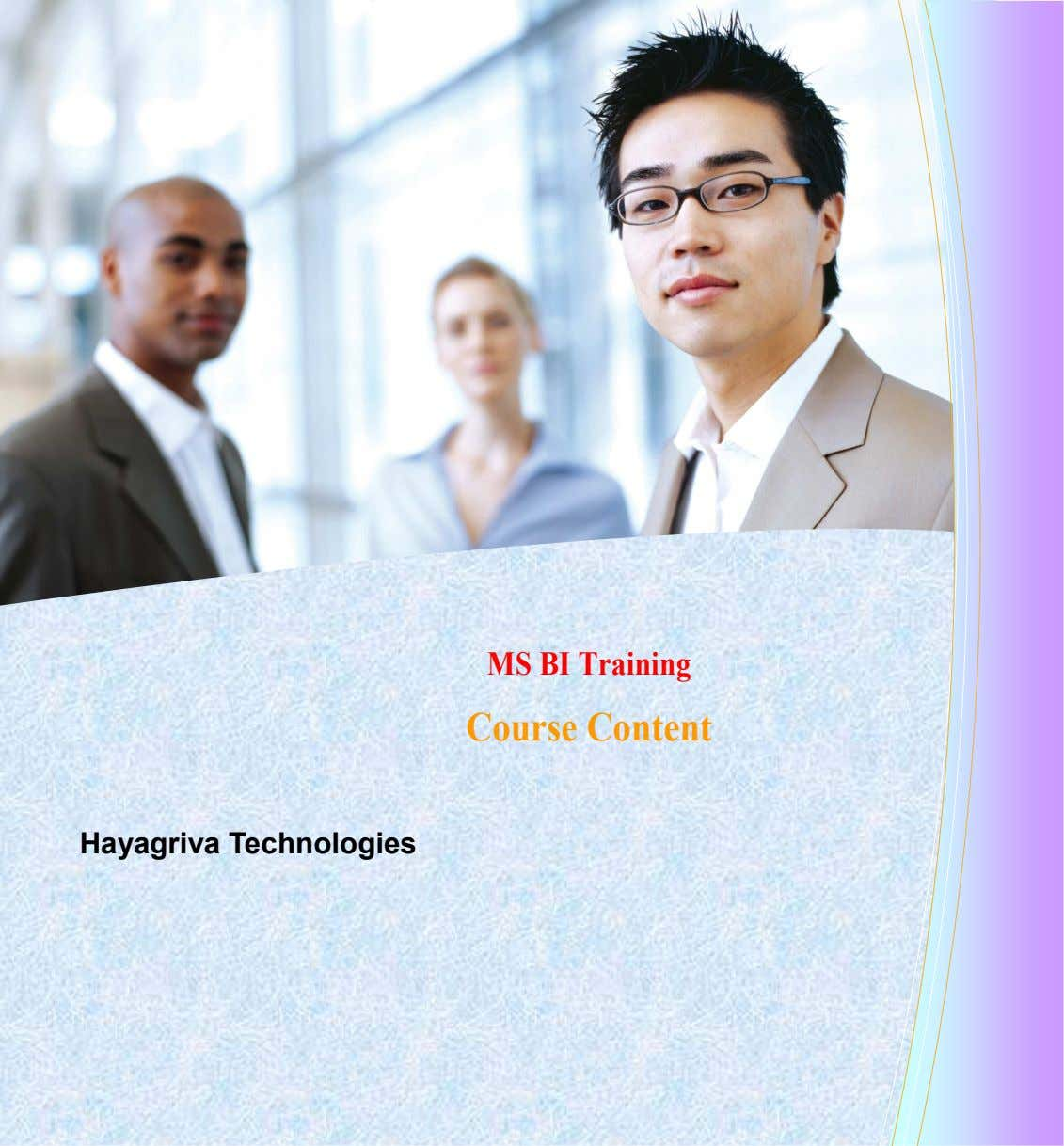 MS BI Training Course Content Hayagriva Technologies