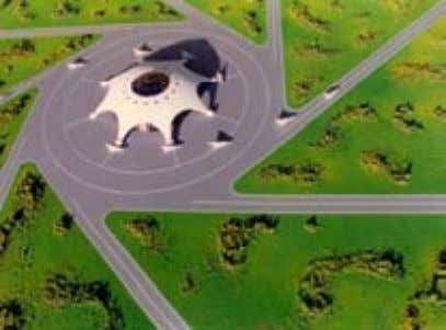 integrated into a worldwide transportation system. Airports The central dome of this airport contains terminals,