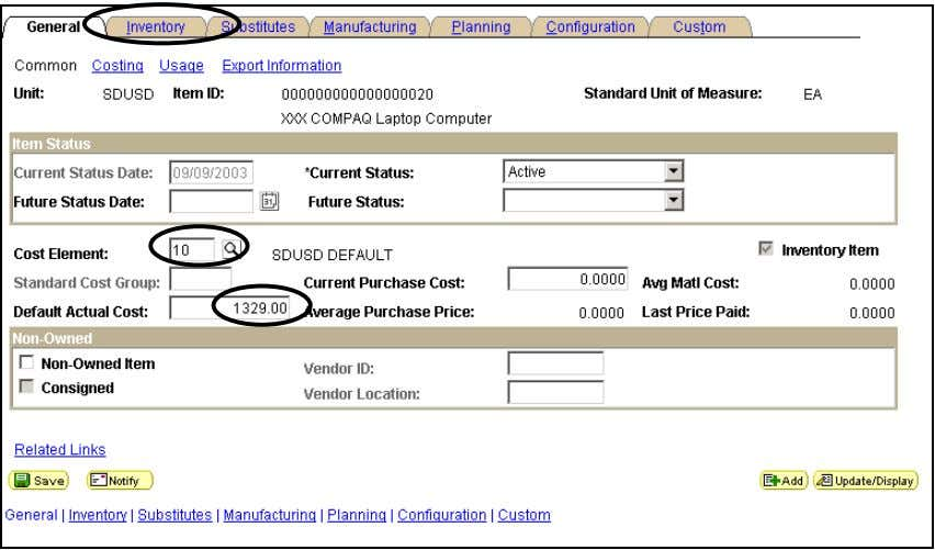 Click ADD. Define Business Unit – General - Common Field Name Information to Enter Cost Element