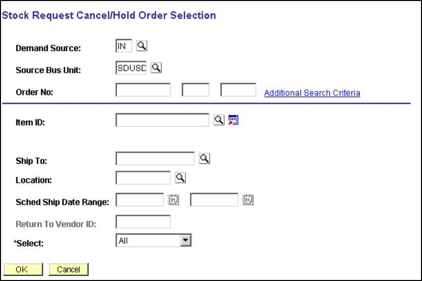 Inventory Selection Page for Orders by Business Unit At this point you can type in the