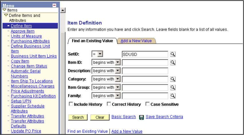 Define Items Find an Existing Value Item Definition Search for the Item. Use some or all