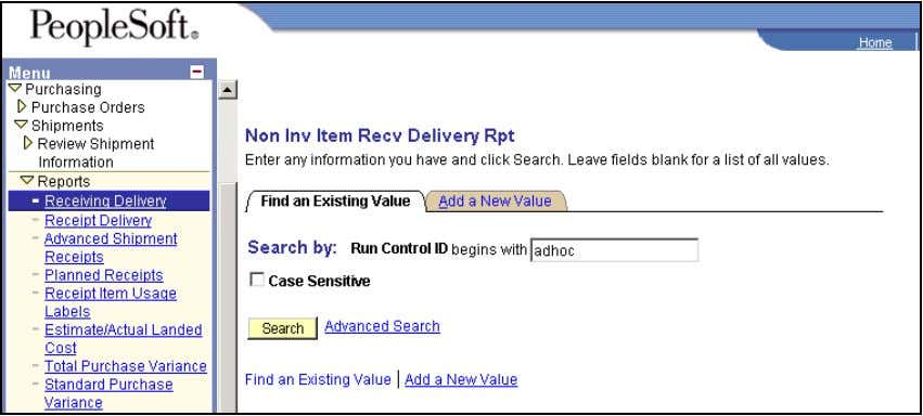 Shipments Reports Receiving Delivery Non Inv Item Receiving Delivery Report Click SEARCH. Click RUN. 54