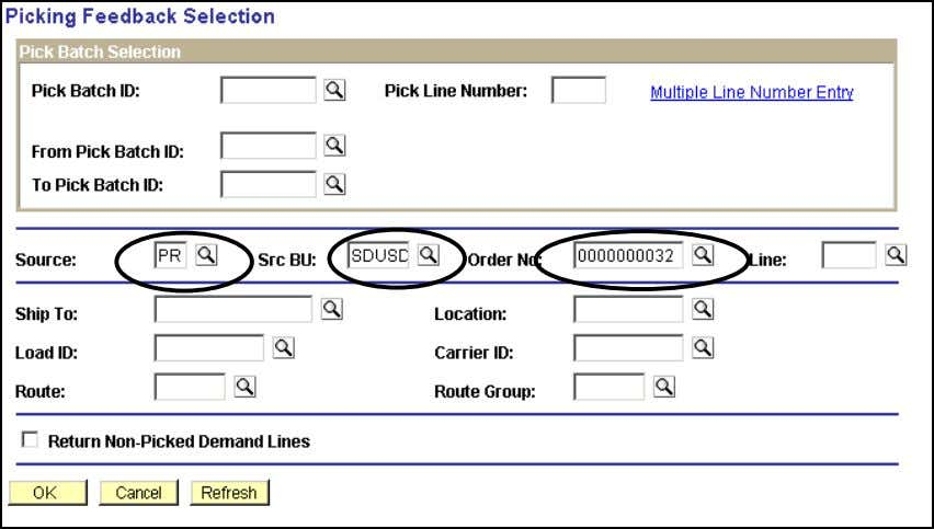 select Picking Plans from the Picking Feedback Selection panel. Click Search hyperlink. Picking Feedback Selection 77