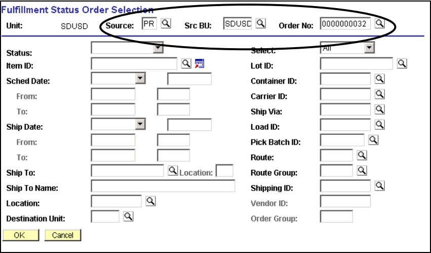 Information Fulfillment Status Fulfillment Status Click Search hyperlink. Fulfillment Status Order Selection 79