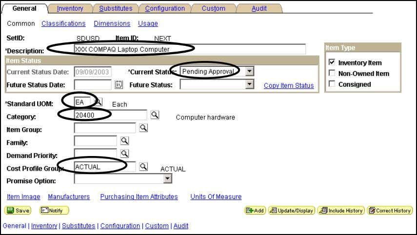 DWA Project Inventory General - Common The Add Item panel appears containing a series of tabs