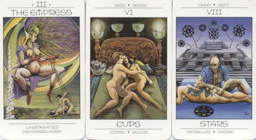 draw upon Greek, Egyptian and various pagan mythologies. Her Star, Moon and Sun cards are very