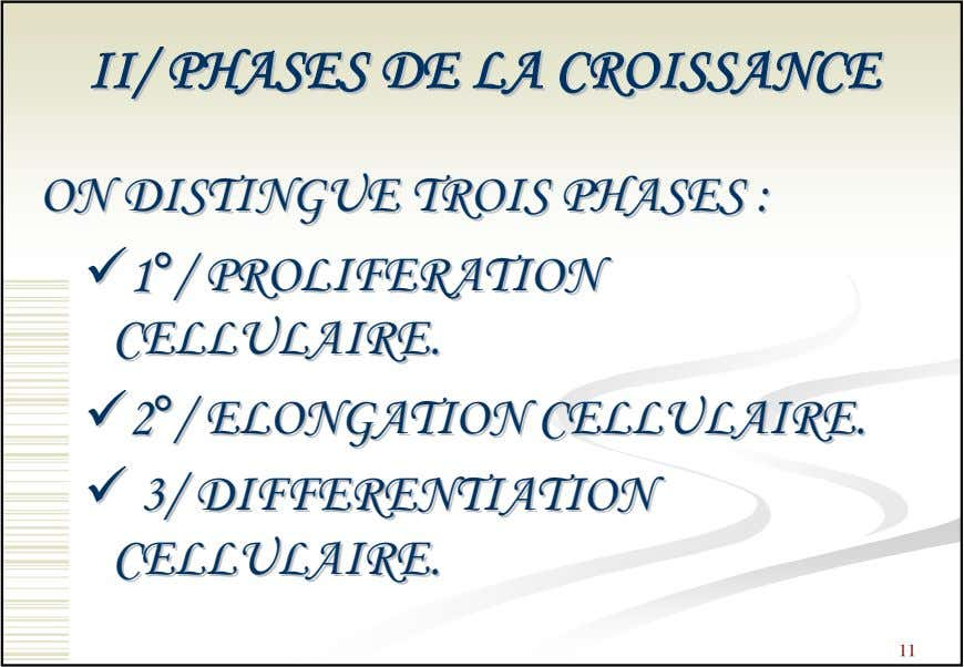 II/II/ PHASESPHASES DEDE LALA CROISSANCECROISSANCE ONON DISTINGUEDISTINGUE TROISTROIS PHASESPHASES :: 11°°//