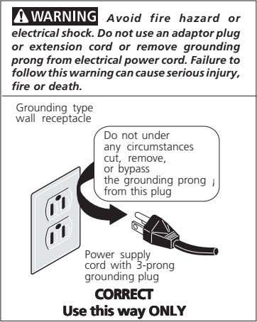 Avoid fire hazard or electrical shock. Do not use an adaptor plug or extension cord