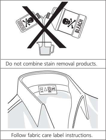 Do not combine stain removal products. Follow fabric care label instructions.