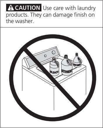 Use care with laundry products. They can damage finish on the washer.