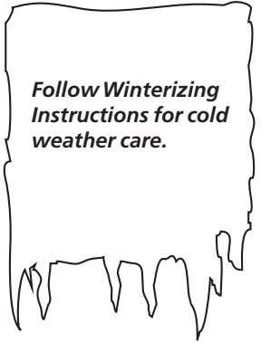 Follow Winterizing Instructions for cold weather care.