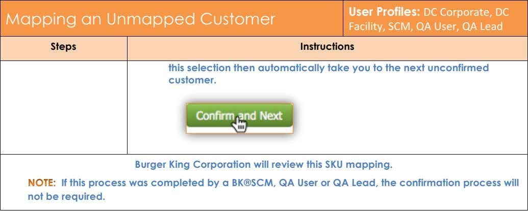 Mapping an Unmapped Customer User Profiles: DC!Corporate,!DC! Facility,!SCM,!QA!User,!QA!Lead Steps Instructions this