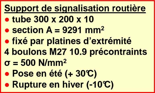 Support de signalisation routière ● tube 300 x 200 x 10 ● section A =