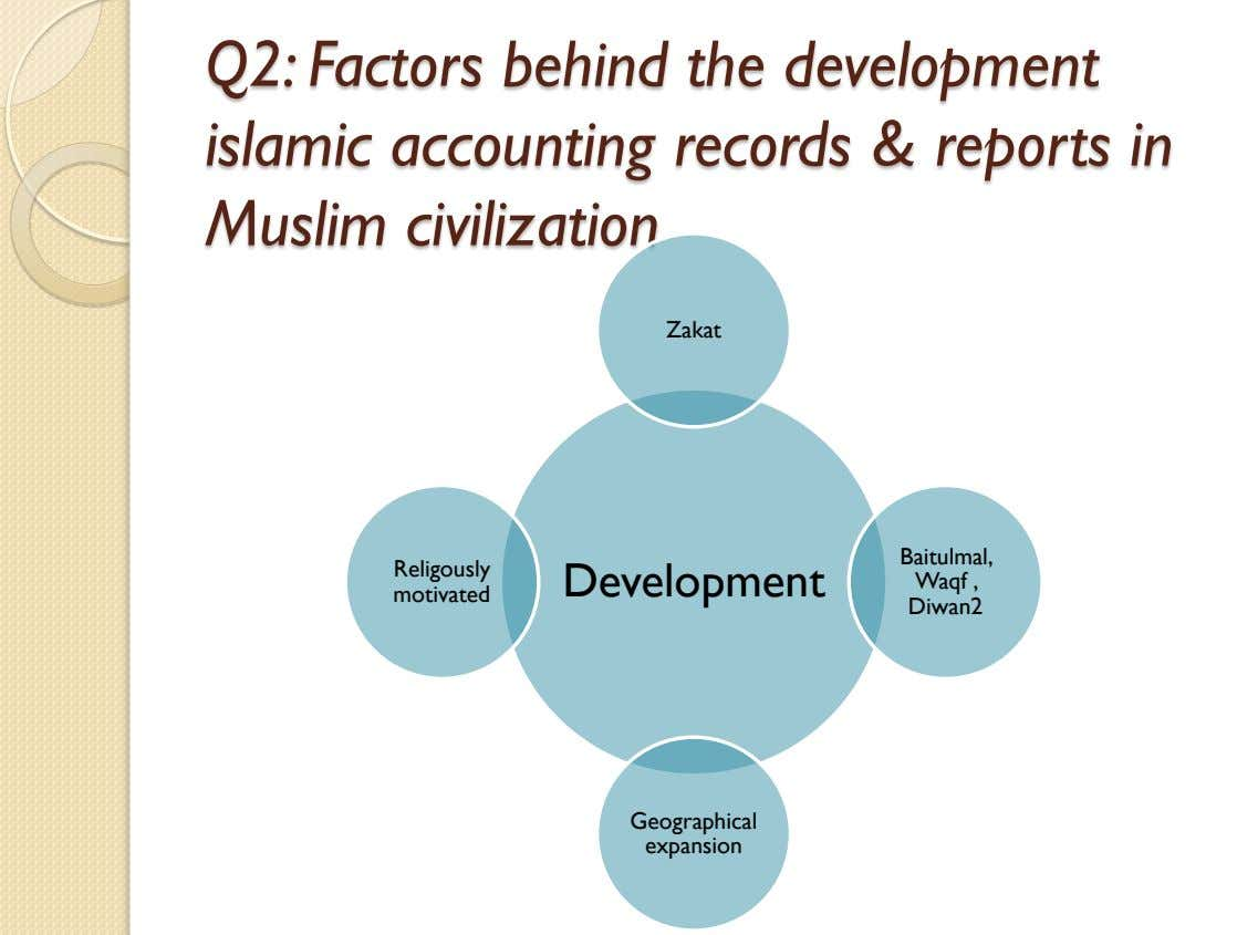 Q2: Factors behind the development islamic accounting records & reports in Muslim civilization Zakat Baitulmal,