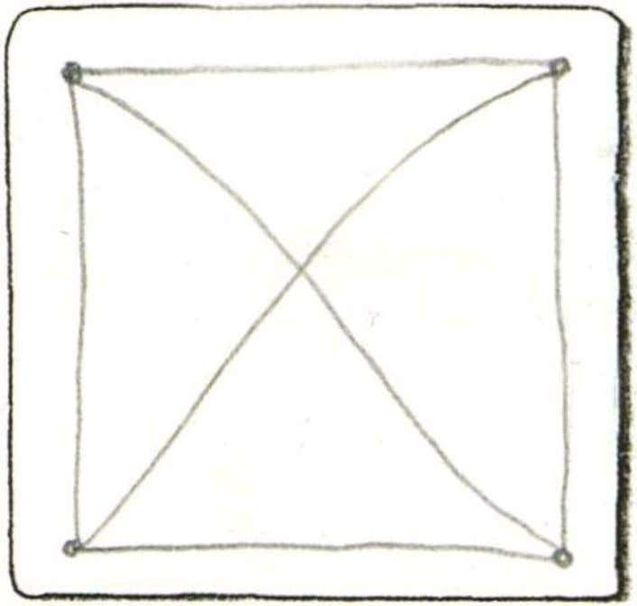 "3. Draw a ""string"" with the pencil as a guide line. Try a X', or"