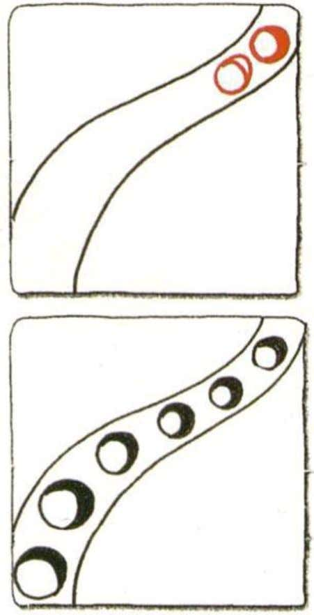 Portholes 1. Draw two lines in the same direction. 2. Draw a circle. 3. Draw