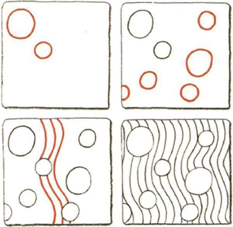 Nipa* 1. Draw a circle in the section. 2. Add more circles. Vary the sizes.