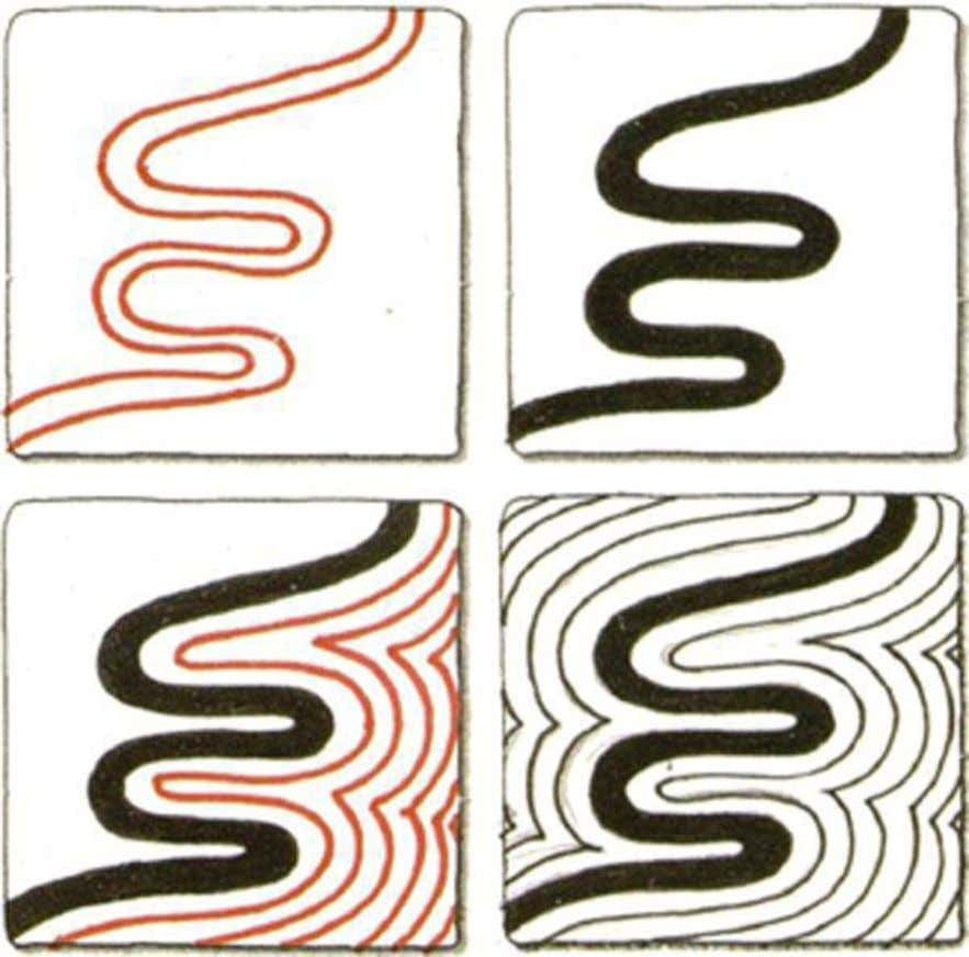 River 1. Draw one very wavy line. 2. Draw a second line going the same