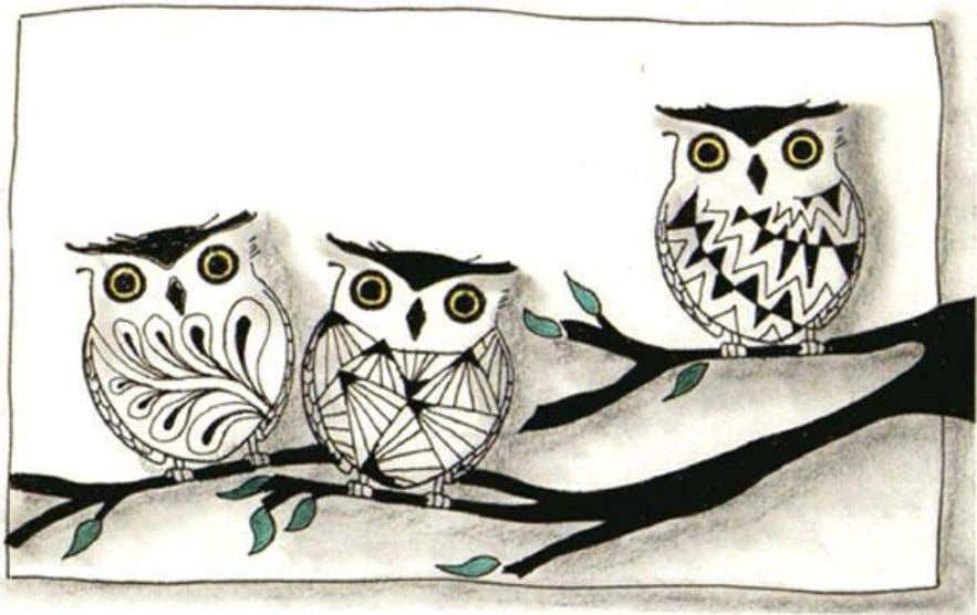 Use Inkadinkado Rubber Stamp #97401 'Hooty' by Amy Smyth as an outline. Stamp 3 owls.