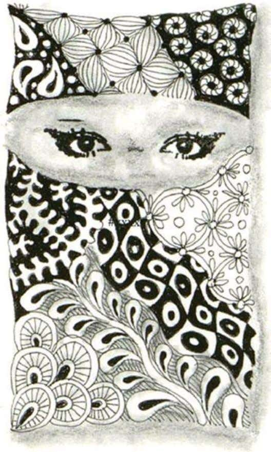 Use Hampton Art Rubber Stamp #DF2223 'Pair of Eyes' by Diana Kovacs. Draw a string