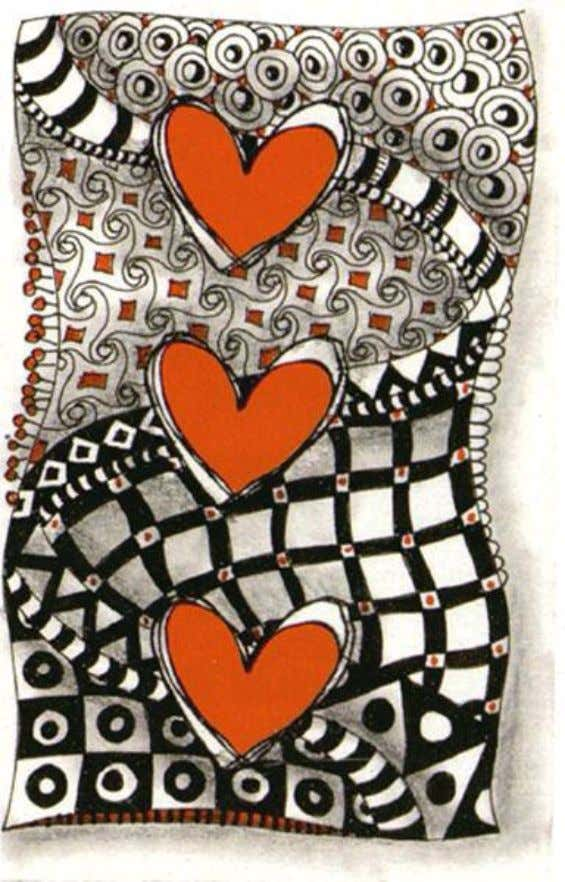 Use Stampabilities Rubber Stamp #C 1101 'Scribble Heart' as an outline. Stamp 3 hearts. Draw