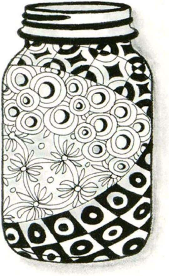 animals and flowers are all great images for Zentangle. Use Inkadinkado Rubber Stamp #04244 'Mason Jar'