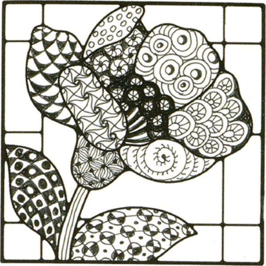images before drawing a Zentangle pattern in each section. Use JudiKins Rubber Stamp #3485 H 'Flower