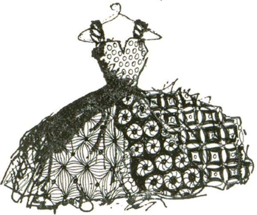 Use Inkadinkado Rubber Stamp #08353 'My Mother's Dress' by Dawn Houser as an outline.