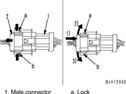1. Male connector a. Lock