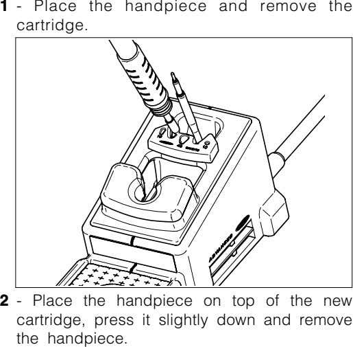 1 - Place the handpiece and remove the cartridge. 2 - cartridge, press it slightly