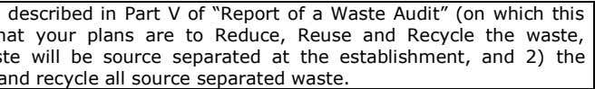 "For each category of waste described in Part V of ""Report of a Waste Audit"""