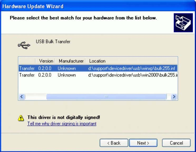 "for Windows XP. Check the selected driver and click ""Next"". Figure 3-6 V1.0 23.01.2008 1 3"