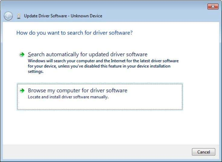"my computer for driver software"". Figure 3-9 6. In the ""Update Driver Software Di alog"" click"