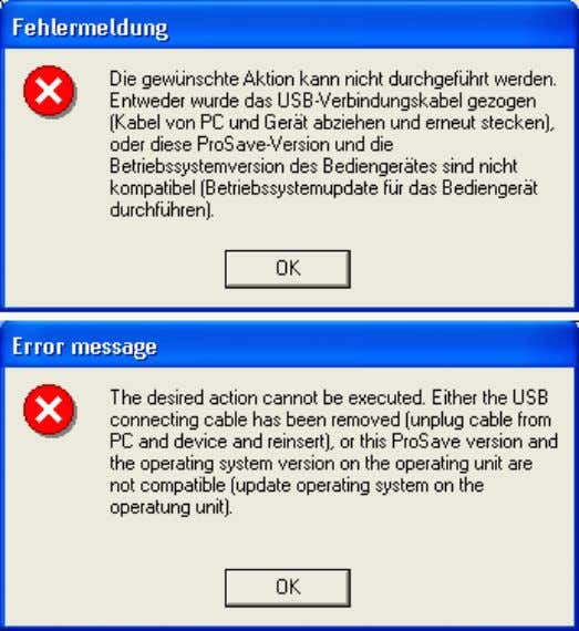 Figure 5-3 ID Number: 19142034 5.2 Possible error messages in ProSave Figure 5-4 V1.0 23.01.2008 2